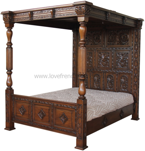 Four Poster Carved Canopy Bed in Dark Oak